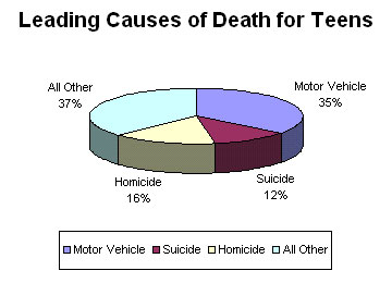 Pie Chart - Leading cause of death among teens. We Know the Causes