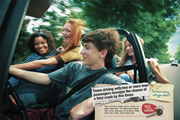Poster: Teens driving with two or more teen passengers increase the chance of a fatal crash by five times.