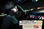Poster: Four of every 10 teen crash deaths occur at night.