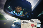 Poster: 46% of teens admit to texting while driving.