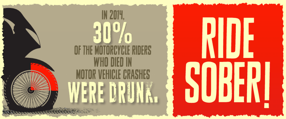 30% of motorcycle crashes in 2014 were drunk riders