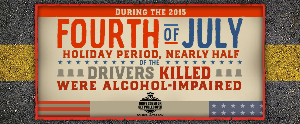 During the 2015 4th of July holiday period, nearly half of the drivers killed were alcohol impaired