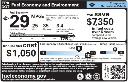 Compressed natural gas vehicle