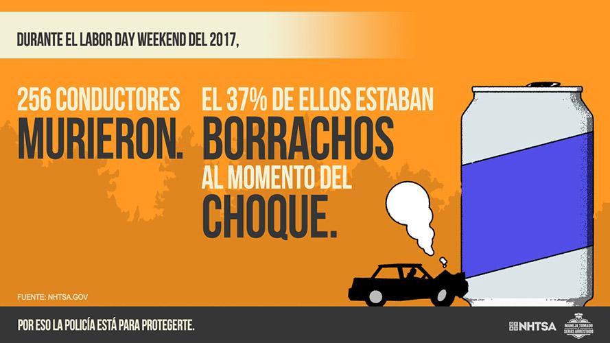 Maneja Tomado y Seras Arrestado: Durante el Labor Day Weekend del 2017, 256 conductores murieron. El 37% de ellos estaban borrachos al momento del choque.