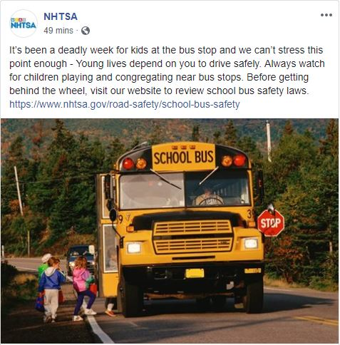 Capture of a NHTSA Facebook post related to school bus safety