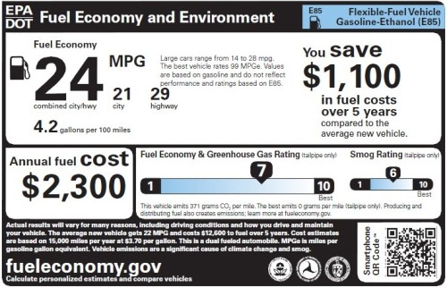 Flex fuel vehicle label (no range bars)