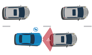 Illustration showing how an alarm sounds as a vehicle creeps up on the vehicle in front of it.