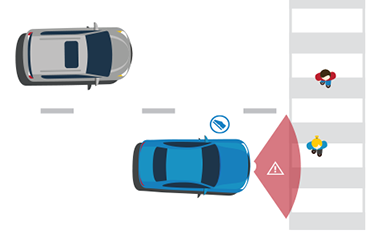 Illustration showing where the sensors check for unexpected person in the rear of a vehicle.