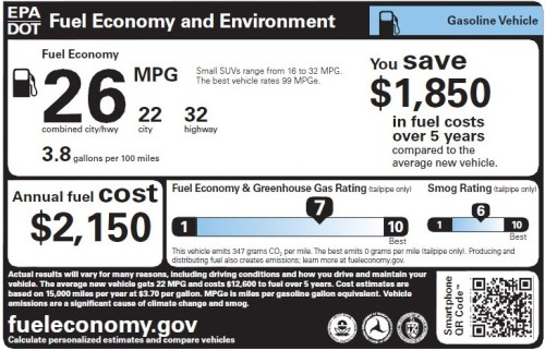 Gasoline vehicle fuel economy label
