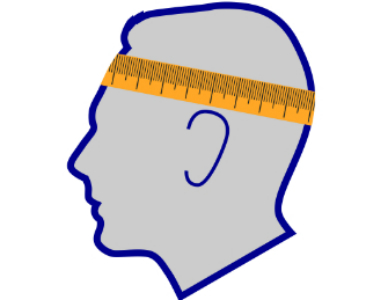 Head with measuring tape going around