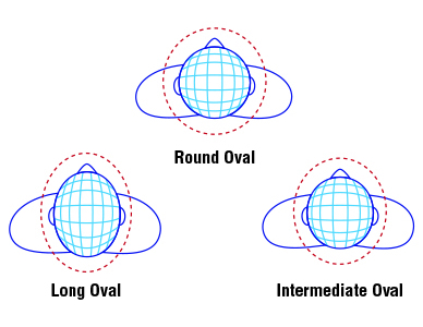 Diagrams showing oval head shapes