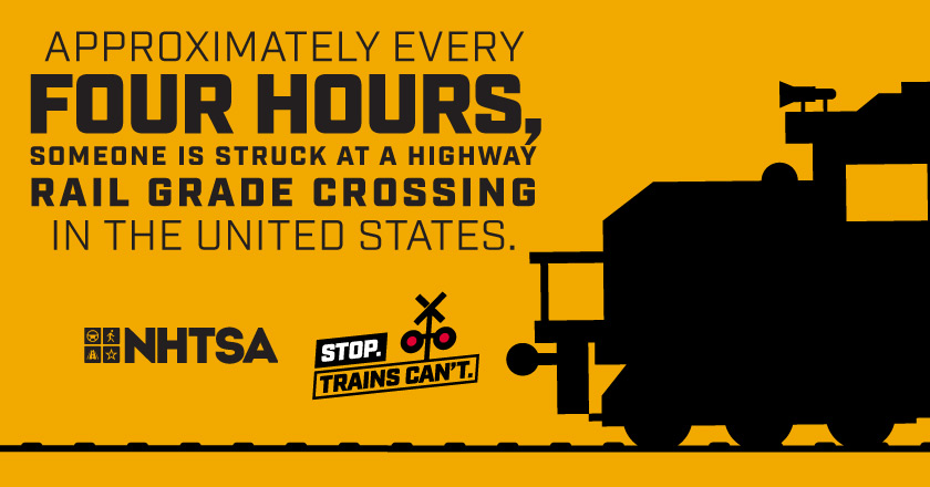 Approximately Every Four Hours, someone is struck at a highway rail grade crossing in the united states.