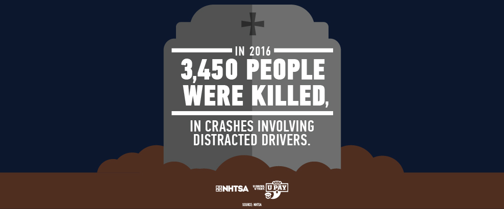 Tombstone infographic distracted driving