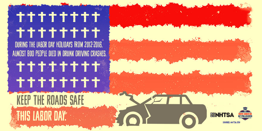 During labor day holidays from 2012-2016. Almost 800 people died in drunk driving crashes.