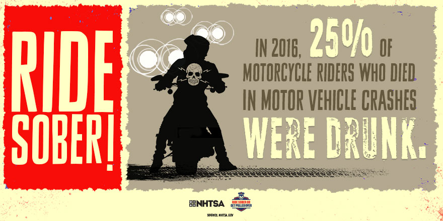 In 2016, 25% of motorcycle riders who died in motor vehicle crashes were drunk.