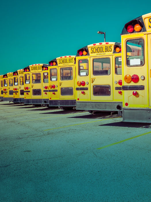 Photo of parked school buses.