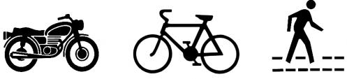 Motorcycle, bicycle, pedestrian icons