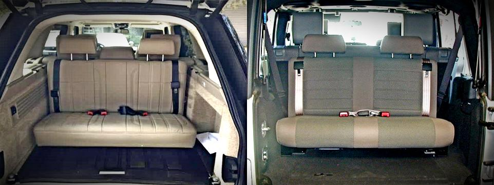 Two examples of non-certified vehicle seats installed in the rear of a vehicle