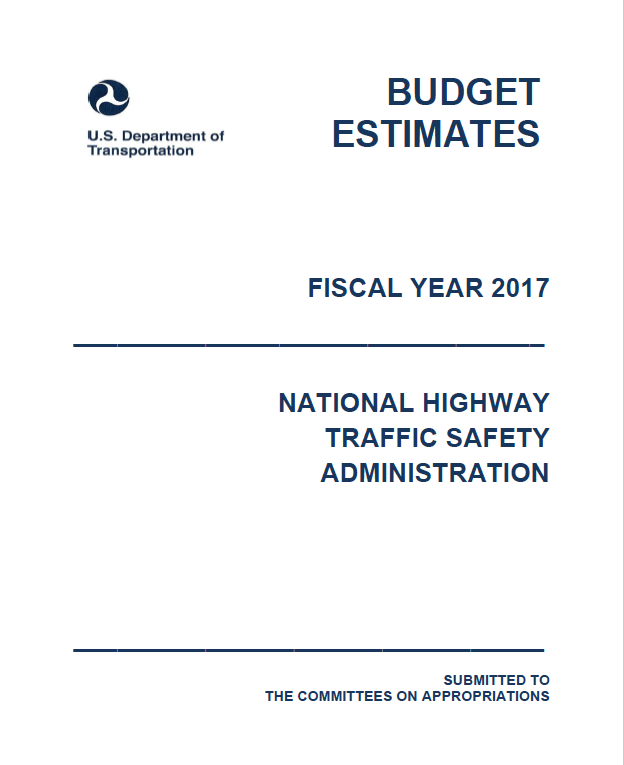 Screenshot of the cover of the 2017 NHTSA Budget Document