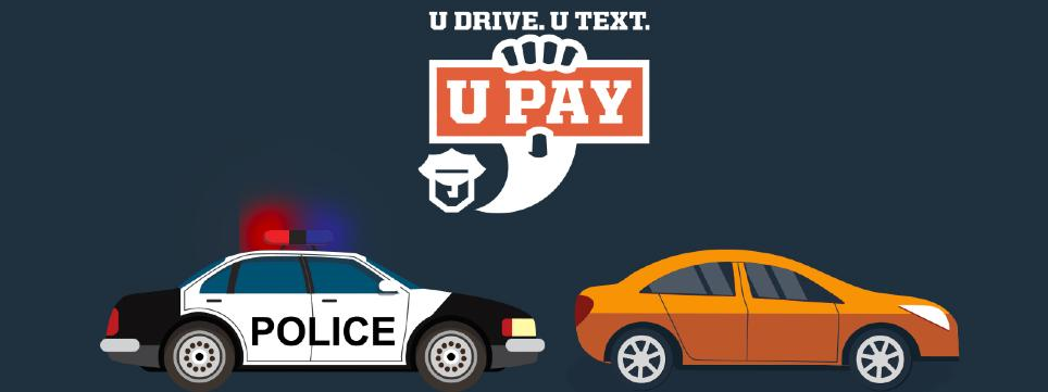 Car pulled over by police, U Drive, U Text, U Pay logo
