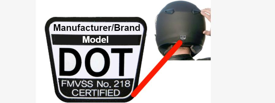 Motorcycle helmet with label that roads Manufacturer Model DOT FMVSS No 218 Certified