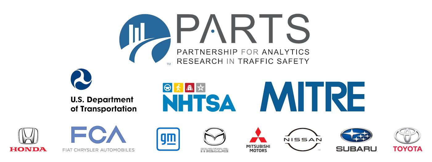 PARTS logo with roadway, tech feel, and logos of partners