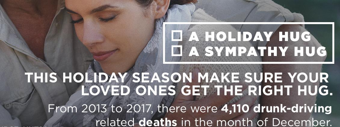 Two people hugging with text, This holiday season make sure your loved one gets the right hug. From 2013 to 2017, there were 4,110 drunk-driving related deaths in the month of December
