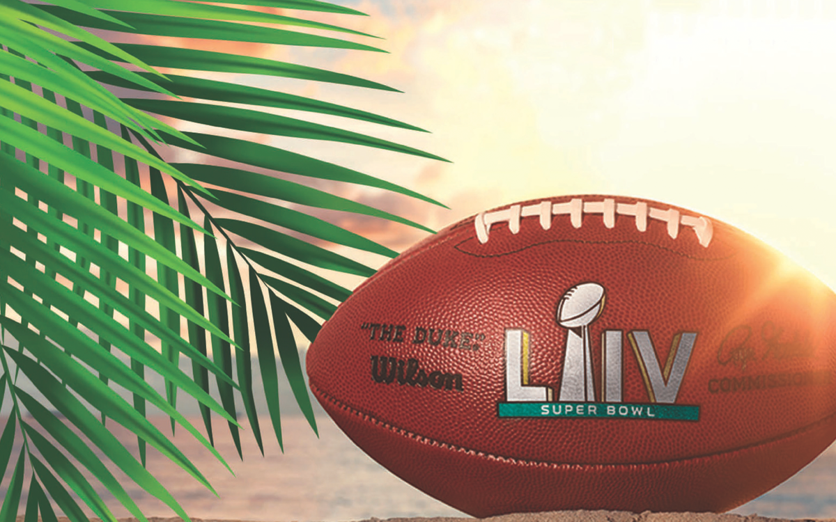 Super Bowl LIV football with sun and palm tree