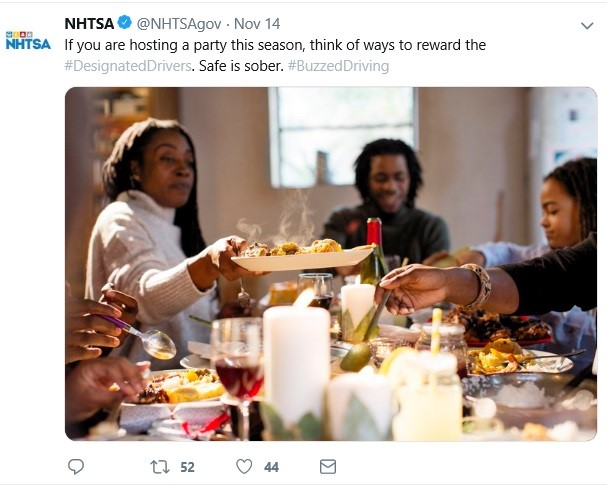 Capture Thanksgiving tweet - If you are hosting a party this season, think of ways to reward the #DesignatedDrivers. Safe is sober. #BuzzedDriving
