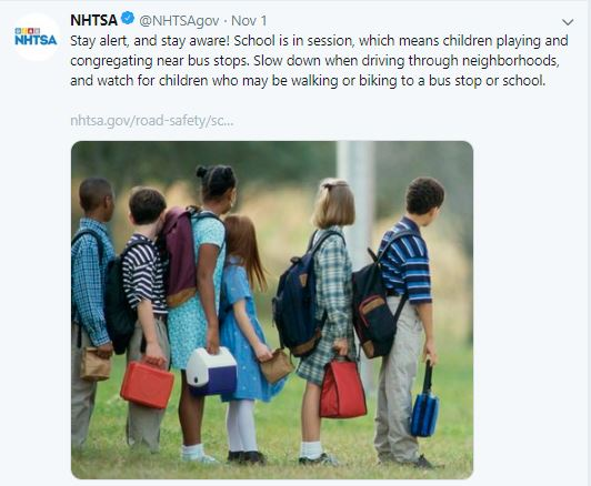Capture of a NHTSA Twitter post related to school bus safety