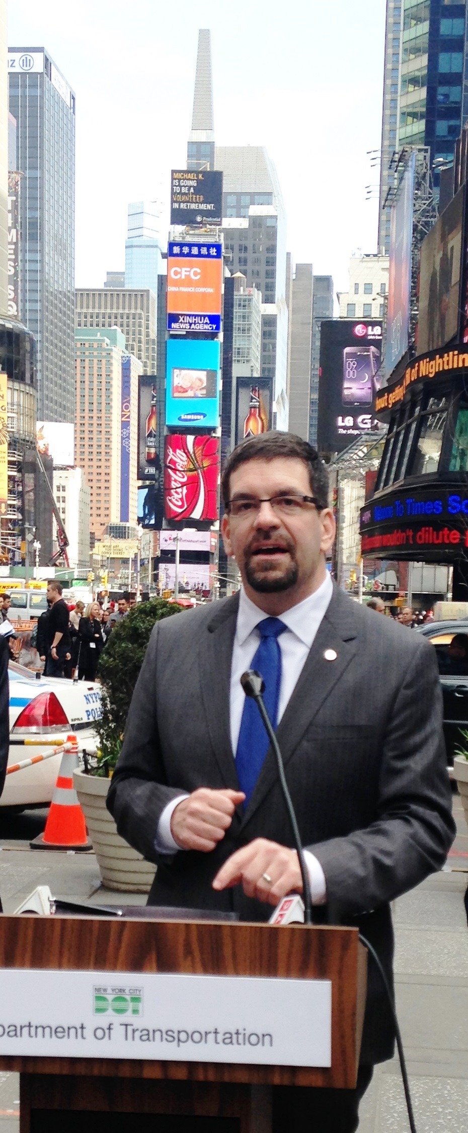 NHTSA Acting Administrator David Friedman talks about pedestrian safety in Times Square in New York City