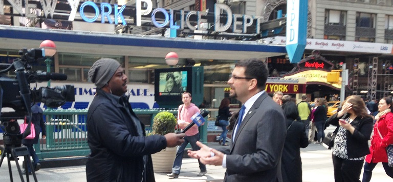 NHTSA Acting Administrator David Friedman being interviewed about pedestrain safety during walking tour of Times Square in New York City