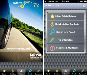 Image of safercar mobile app main page and menu page