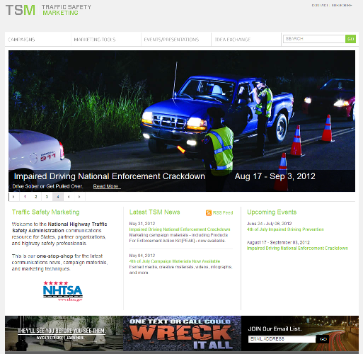 Image of www.trafficsafetymarketing.gov web site