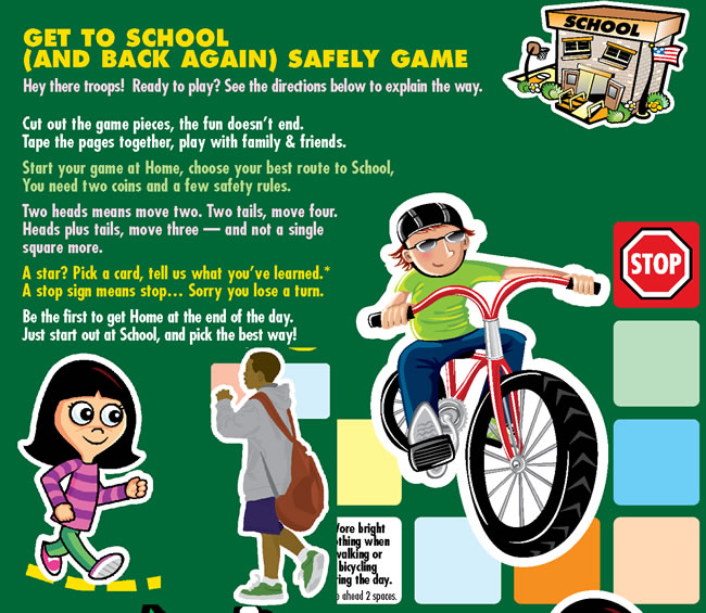 Get To School (and back again) Safely Gameboard