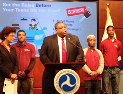 NHTSA Administrator Strickland announcing '5 to Drive' teen driving safety campaign